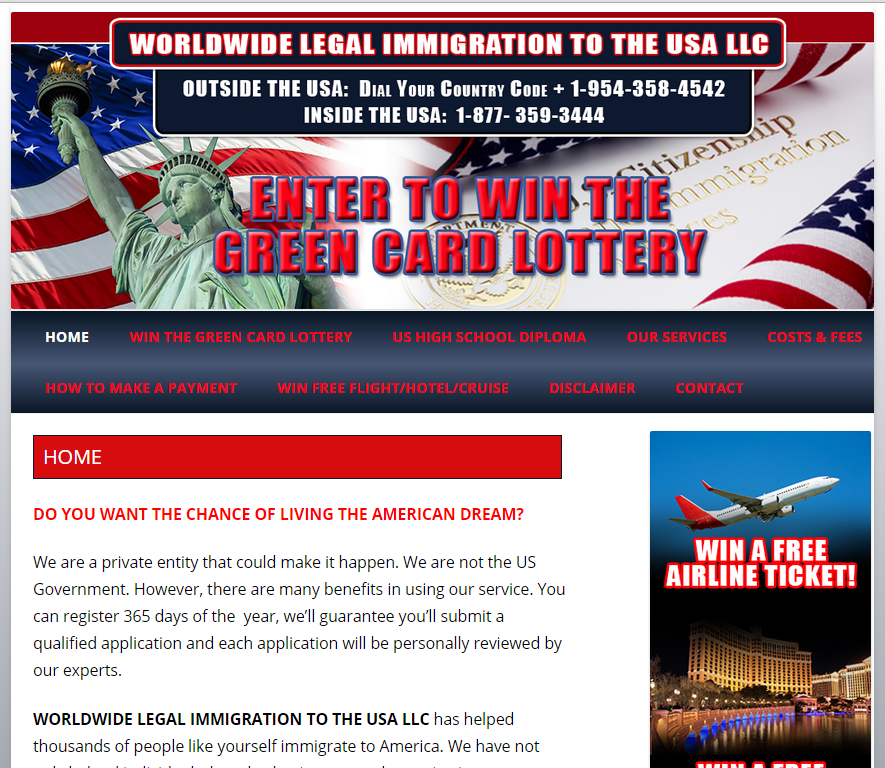 green card lottery payment